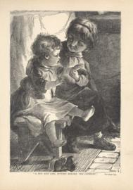 A Boy And Girl Sitting Before The Chimney