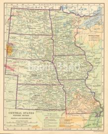 Central States Western Section Political And Economic Map