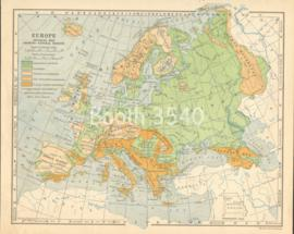 Europe Physical Map Showing Natural Regions