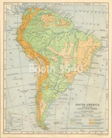 South America Physical Map Showing Natural Regions