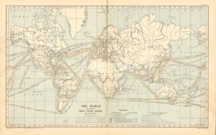The World Map Showing Great Trade Routes